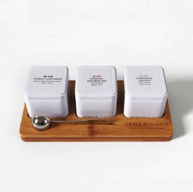 Senza Tea losse thee plateau blikjes horeca kantoor theekist